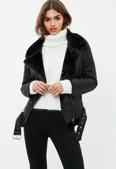 Missguided - Perfecto noir en simili cuir à fausse fourrure