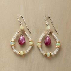 """THE FIRE WITHIN EARRINGS -- $258 Deep pink rubies ablaze within hoops set aglow by moonstones and fire opals. Thoi Vo Sundance exclusive handmade in USA with 14kt gold fill accents, sterling silver French wires. 1-3/8""""L."""