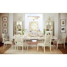 Mirasol Modern Classic Ivory Cream Brass Inlay Dining Table. #kathykuohome