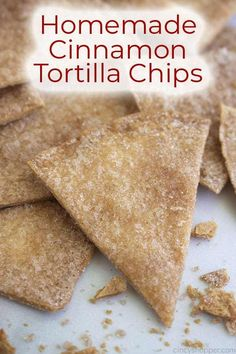 Homemade Cinnamon Tortilla Chips are the perfect crispy treat to satisfy those churro cravings! These easy homemade cinnamon chips cookquickly. Cinnamon Sugar Tortillas, Cinnamon Tortilla Chips, Homemade Tortilla Chips, Cinnamon Chips, Healthy Tortilla Chips, Homemade Chips, Appetizer Recipes, Snack Recipes, Dessert Recipes