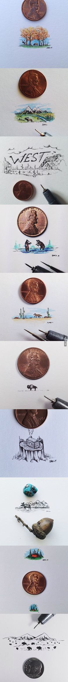 These tiny illustrations are the size of a penny, but they are full of beautiful detail