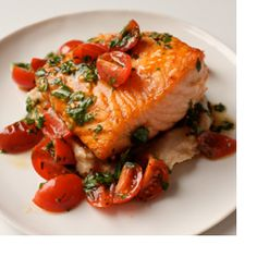 Broiled Salmon with Cannellini Bean Puree & Tomato vinaigrette - from the Cleveland Clinic Wellness
