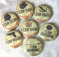 The Walking Dead 2.25  Pinback Buttons - choose your team!