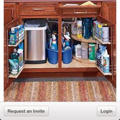 Organizing under the kitchen sink in a small space.-Trash under sink? wish my cabinet looked like this!!