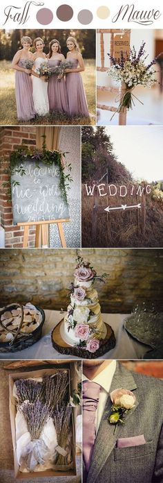 fall mauve and lavender romantic rustic wedding colors#weddingcolors#mauve