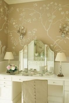 Master bedroom boudoir wardrobe design - dressing table wallpaper.jpg