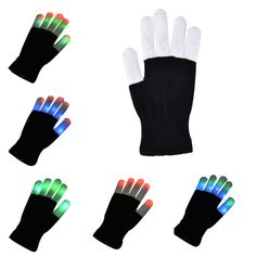 Led Rave Flashing Glove 1 Piece Glow 7 Mode Light Up Finger Tip Lighting Black Vd New Hot Glove Girl's Accessories Girl's Gloves