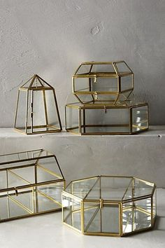 arca jewelry and trinket box in gold and glass #anthrofave                                                                                                                                                                                 More