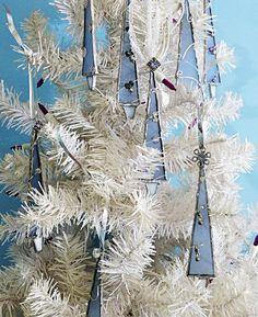 Elegant Stained Glass Christmas Tree Frosty Blue by miloglass, $25.00