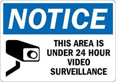 "SmartSign 3M Engineer Grade Reflective Sign, Legend ""Notice: Area is Under 24 Hour Video Surveillance"" with Graphic, 7"" High X 10"" Wide, Black/Blue on White"