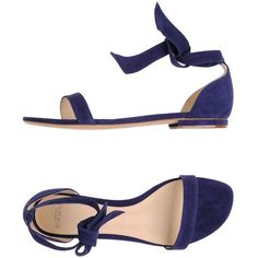 Alexandre Birman Sandals ($290) ❤ liked on Polyvore featuring shoes, sandals, dark blue, ankle tie flat sandals, flat shoes, ankle strap flat sandals, ankle strap sandals and buckle sandals