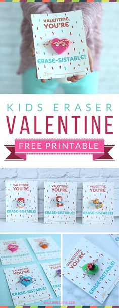 Free Printable Valentine for kids. Such a fun idea for a non-candy Valentines card - perfect for your child's classroom Valentine's Day party!