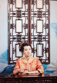 As A Chinese girl, she must wear Chinese wedding clothes at her Big Day. #fashion #clothes #bride # hot #hair style #star #dress #wedding