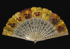 Place of origin: France (made) Date: (made) Artist/Maker: Ronot-Tutin (painter (artist)) Materials and Techniques: Painted silk gauze and bobbin lace leaf, with mother-of-pearl sticks and guards Antique Fans, Vintage Fans, Hand Held Fan, Hand Fans, Fan Decoration, V & A Museum, Victoria And Albert Museum, Bobbin Lace, Silk Painting
