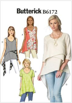 Misses Top and Tunic Butterick Sewing Pattern 6172.