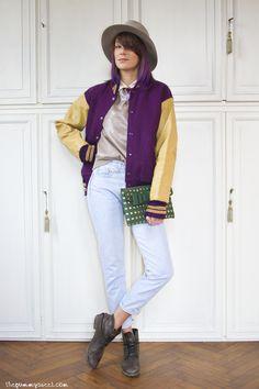 Wearing @BORSALINO hat, A' la Fois sweater, Second Hand Varsity Jacket and Levi's jeans, La Fille Des Fleurs Pochette