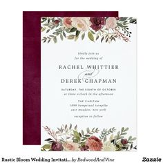 Rustic Bloom Wedding Invitation ****FTC Disclosure: Some links on my page may be… Trend – Wedding Invitations Trends 2019 Burgundy Wedding Invitations, Cheap Wedding Invitations, Wedding Invitation Wording, Elegant Wedding Invitations, Invitations Online, Invitation Templates, Wedding Stationary, Invitation Design, Floral Invitation