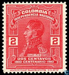 Colombia [COL] - Independence Fighters 1910 Cali Colombia, Emerald City, Postage Stamps, Red And White, Art, Collection, World, Patriotic Symbols, Laminas Vintage