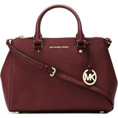 Michael Michael Kors Sutton Tote Bag ($380) ❤ liked on Polyvore featuring bags, handbags, tote bags, red, genuine leather tote, burgundy leather handbag, red handbags, burgundy leather purse and genuine leather handbags