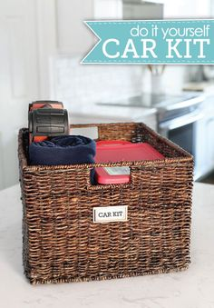 Pack a kit in a decorative bin. A wicker basket makes for cute storage outside the house too. A deep one, like this, is great for keeping emergency supplies and tools at the ready. Click through for a how-to and more car organizing ideas.