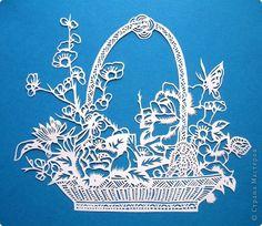 Картина панно рисунок Вырезание Корзина цветов Бумага фото 18