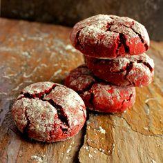 Red VELVET Crinkle Cookies. Moist. Rich. Decadent. Amazing! @ABachelorAndHisGrill