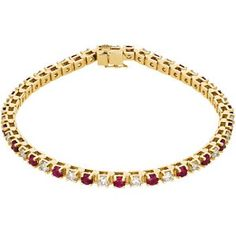 Ruby and diamond tennis bracelet in 14k yellow gold. Call or email for information and availability ddjewelry@gmail.com  (425)827-7722