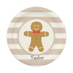 Christmas Gingerbread Man Paper Plate