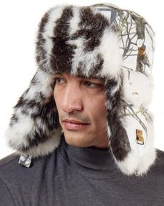 74cbe94156c Buffalo Check Rabbit Fur Aviator Hat for Men