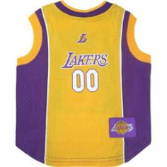 278ccab2a7e8 Cotton and mesh tank Los Angeles Lakers dog jersey with screen printed team  logo woven team logo patch embroidered NBA Pet Gear dog apparel logo on  front ...