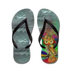 Tropical Fashion Queen Owl Glass on CafePress.com Flip Flop Art, Shoe Boots, Shoes Heels, Shoes Sneakers, Custom Flip Flops, Personalized Flip Flops, Tropical Fashion, Rubber Flip Flops, Shoe Shop