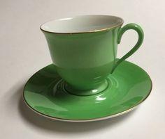 Noritake Vintage Demitasse Cup & Saucer Set Morimura Green & White Japan #Noritake