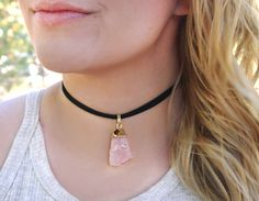 Rose Quartz Choker Necklace Gold Black / Chunky Rough Raw Natural Crystal Vegan Suede Leather Cord / Boho Hippie Gemstone Layering Jewelry
