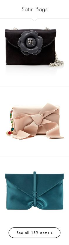 """Satin Bags"" by brassbracelets ❤ liked on Polyvore featuring bags, handbags, shoulder bags, black, oscar de la renta handbags, shoulder handbags, rosette handbag, flower handbags, rosette purse and clutches"