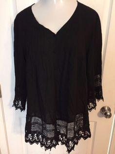 Solitaire 1X Plus Size Blouse Black Boho Hippie Lace Accent  #Solitaire #Shirt #Versatile