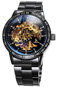 Alienwork IK Automatik Armbanduhr Herren Damen Uhr Edelstahl Armband  Metallarmband Metallband schwarz Automatikuhr Herrenuhr Damenuhr Skelett 0aa5beedc33