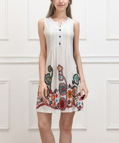 Another great find on #zulily! White & Red Garden Sleeveless Button-Front Dress #zulilyfinds