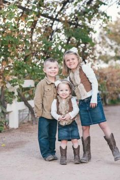Hoop Photography - Yearly Family Pictures - Sibling Pose Photo - Cream Beige Brown Denim Skirt Corduroy Lace Headband Cowboy Cowgirl Boots Fur Vest - Urban Farm at Agritopia - @J. Ashton Photography