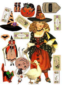 Vintage Dressing tuck paper doll with art deco halloween Theme Halloween, Halloween Prints, Halloween Projects, Fall Halloween, Halloween Decorations, Halloween Printable, Halloween Pumpkins, Halloween Labels, Halloween Scrapbook