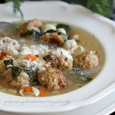 With a Grateful Prayer and a Thankful Heart ~ Italian Wedding Soup from Ina Garten recipe with chicken meatballs Soup Recipes, Cooking Recipes, Healthy Recipes, Vegetarian Recipes, Healthy Food, Grateful Prayer, Thankful Heart, Chicken Meatball Recipes, Chicken Sausage