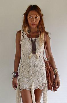 Bohemian Style Macrame Dress with Fringe by PadMa88 on Etsy