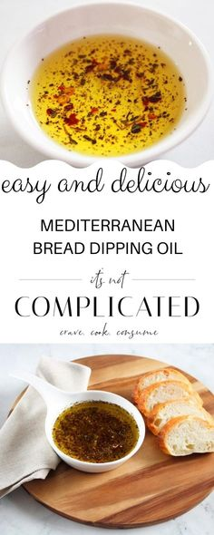 This delicious Bread Dipping Oil with Mediterranean flavours takes minutes to prepare, and makes a fabulous appetiser! Serve with your favourite bread, some shavings of Parmesan cheese and a glass of wine!#breaddippingoil #dippingoil #flavouredoil #mediterraneandippingoil #mediterraneranflavours #appetisers #cravecookconsume #itsnotcomplicatedrecipes Italian Appetizers, Yummy Appetizers, Appetizers For Party, Appetizer Recipes, Best Homemade Bread Recipe, Homemade Breads, Best Dip Recipes, Delicious Recipes, Mediterranean Bread