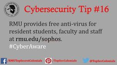 RMU provides free anti-virus for resident students, faculty, and staff at rmu.edu/sophos. #CyberAware