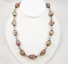 Venetian Glass Beads Necklace Multi Color by LadyandLibrarian #ladyandlibrarian