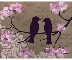Items similar to Love birds, pink flowers and damask, brown fleur de lis, Set of 5 blank note cards on Etsy Love Birds Wedding, Great Wedding Gifts, Wedding Ideas, Pink Blossom, Bird Prints, Bird Art, Craft Gifts, Pink Flowers, Shabby Chic