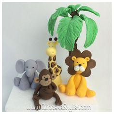 Set of 4 fondant Safari Animal Cake Toppers, and Palm Tree