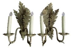 French Acanthus Leaf Sconces, Pair