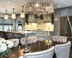 Traditional Kitchen in Pebble Gray Color Scheme Grey Paint Colors, Gray Color, Dream Kitchens, Home Kitchens, Grey Interior Design, Raised Panel Doors, Pebble Grey, Gray Cabinets, Grey Wallpaper