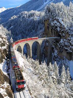Bernini Express on Landwasser Viaduct - Switzerland (by Nicola Fedrizzi on 500px)