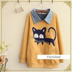 Buy 'Fairyland – Cat Appliqué Collared Pullover' with Free International Shipping at YesStyle.com. Browse and shop for thousands of Asian fashion items from China and more!